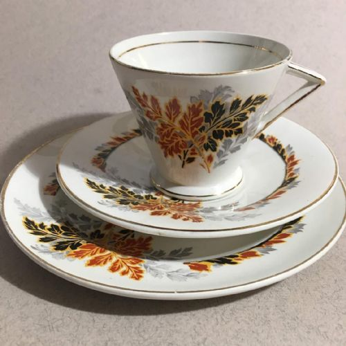 Art Deco - Bone China - Black Gold Red Trio